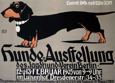 old poster for dachshund dog show in germany 1905