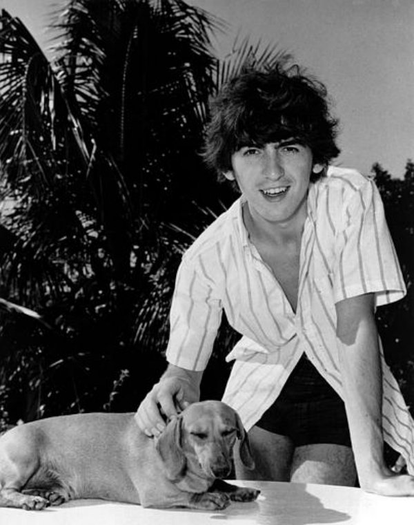 Beatle George Harrison with his Dachshund