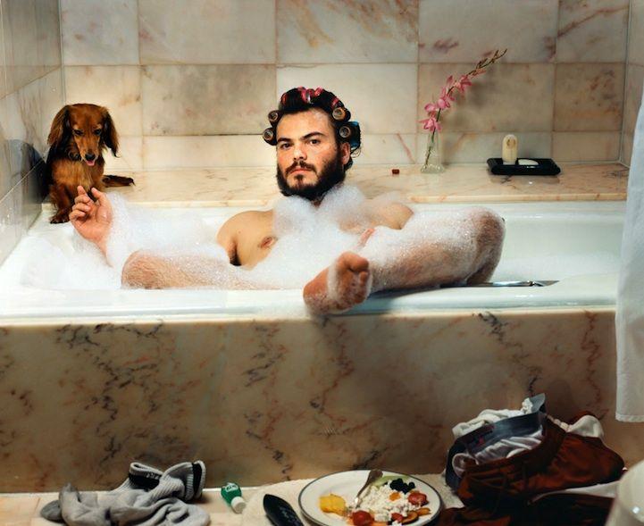 Jack Black in bath with a Dachshund